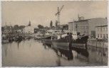 AK Foto Brandenburg an der Havel Hafen Schiffe und Kräne 1960