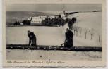 AK Abtei Mariawald bei Heimbach (Eifel) im Schnee Mönche bei der Arbeit 1941 RAR