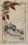 Künstler-AK Schloss Eberstein mit Wappen Gernsbach 1903