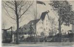AK Ferienkolonie Niendorf Ostsee b. Travemünde Gebäude mit Fahne 1920