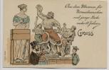 Künstler-AK Lex Heinze Gruss aus dem Museum für Normalmenschen und junge Leute unter 18 Jahren Venus Medici und Laokoon 1900 RAR