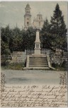 AK Großmergthal Mařenice Kirche mit Denkmal 1866 Böhmen Tschechien 1904