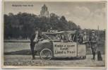 AK Burgruine Tost Toszek in Schlesien Musikgruppe mit Fahrzeug Kr. Gleiwitz Polen 1920 RAR