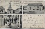 AK Gruß aus Walheim (Haut-Rhin) Kirche Kegelbahn Wirtschaft Elsass Frankreich 1912 RAR