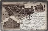 AK Gruss aus Raguhn Maschinenbau und Metalltuchfabrik Kirche Rathaus 1901
