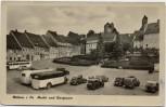 AK Stolpen in Sachsen Markt und Burgruine viele Fahrzeuge 1958