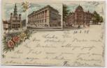 AK Litho Posen Poznań Post Rathaus Bibliothek Polen 1898 RAR