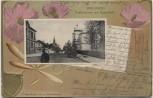 Präge-AK Passepartout Bielefeld Paulusstraße mit Realschule 1903 RAR