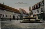 Präge-AK Lucka in Thüringen Markt mit Wettinbrunnen 1910 RAR mit Restaurant zum goldenen Stern 1910 RAR