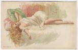 Künstler-AK Frau auf Bett liegend Busen entblößt  Serie 370 Nr. 1 Erotik 1900