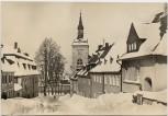 AK Foto Scheibenberg Blick zum Markt mit Rathaus im Winter Erzgebirge 1970