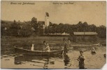 AK Gruss aus Dürnhausen Ortsansicht See Boot Menschen bei Habach Weilheim-Schongau 1907 RAR