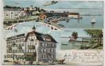 AK Litho Gruß aus Romanshorn Hafen Zeppelin Hotel Pension Schiff Bodensee Thurgau Schweiz 1912 RAR