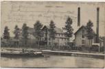 AK Chauny L'Huilerie Fabrik mit Boot Feldpost Aisne Frankreich 1914 RAR