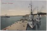 AK Makarska Blick auf Hafen mit Kriegsschiffen Dalmatien Kroatien 1930 RAR