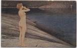 AK Degi-Gemälde Nr. 539 Echo von Hagborg Frau steht nackt am Wasser 1920