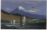 AK Gemälde handgemalt japanisches Motiv Vulkan mit Schiffen 1920