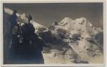 AK Foto Pontresina Biancograt Bernina Blick auf Piz Roseg mit Bergsteiger Graubünden Schweiz 1940