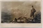 AK Foto Sommerfrische Schladming Dachsteinblick mit Bergsteiger Steiermark Österreich 1954
