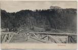 AK Hollenburg Frau auf Holzbrücke bei Köttmannsdorf Kärnten Österreich 1910