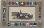 Präge-AK Passepartout Fischenthal Kirche und Pfarrhaus viele Wappen Zürich Schweiz 1907 RAR