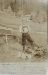 AK Foto Gasthaus Veitenhof Kind mit Pfeife Kaisertal Kufstein Tirol Österreich 1901 RAR