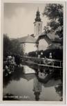 AK Foto Hörsching Blick auf Kirche Menschen am Teich Oberösterreich Österreich 1940