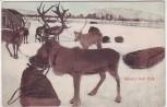 AK Rensdyr med Pulk Rentiere Schweden 1910