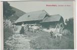 AK Niesen-Bahn Niesenbahn Sennhütten am Niesen mit Menschen bei Mülenen Bern Schweiz 1910