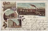 Litho Gruss aus Hermsdorf Sobięcin Waldenburg Wałbrzych Dorfstrasse Vorwärtshütte Schwesternschächte Schlesien Polen 1902 RAR