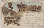 Litho Gruss aus Görlitz Kaiser Wilhelm Denkmal Kaisertrutz Postplatz 1904