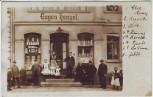 AK Foto Herzberg (Elster) Menschen vor Geschäft Eisenwarenhändler Eugen Hensel 1910 RAR