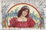 Litho Neuss am Rhein Neusser Nudeln- und Stärkefabrik Peter Jos. Schram Frau mit Blumen 1903 RAR