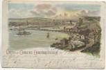 AK Litho Gruss aus Coblenz-Ehrenbreitstein Koblenz Zug und Schiffe 1899