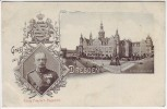 AK Gruss aus Dresden Königl. Schloss König Friedrich August III. Wappen 1907
