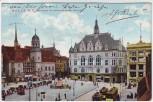 AK Halle an der Saale Marktplatz mit altem und neuem Rathaus 1911