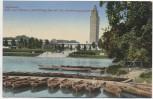 AK Magdeburg Blick vom Fährhaus Adolf-Mittag-See auf das Ausstellungsgelände viele Boote 1936