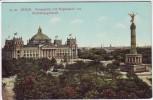 AK Berlin Mitte Königsplatz mit Siegessäule und Reichstagsgebäude 1908