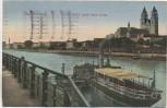 AK Magdeburg Elbe-Blick nach dem Dom mit Schiff 1926