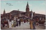 AK Hamburg Hauptbahnhof Oldtimer Straßenbahn viele Menschen 1911