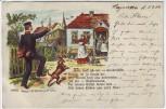 AK Litho Soldat Reserve Wiedersehen Hund 1904