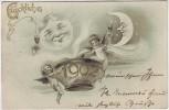 Künstler-AK Glückliches Neujahr Sonne Mond mit Gesicht Engel 1902