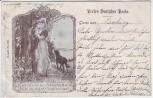 Künstler-AK Perlen Deutscher Poesie Mann mit Frau Hund Dessin 312 1901