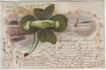 Präge-AK Litho Gruss aus ... Kleeblatt Hände reichend 1901