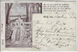 Künstler-AK Gruß aus ... Frau auf Bank Gedicht 1900