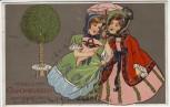 AK Herzlichen Glückwunsch zum Geburtstag 2 Frauen mit Schirm Tüte Baum Jugendstil 1907