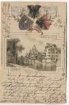 AK Präge-Litho Nürnberg Pegnitz Partie mit 3 Wappen 1899