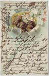 Präge-AK 3 Hunde mit Blumen 1905