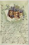 Präge-AK 3 Hunde mit Glocken Blumen 1904