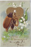 Präge-AK Fröhliche Pfingsten 2 Maikäfer Blumen Herz in Gold 1904